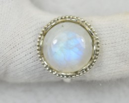 NATURAL UNTREATED RAIN BOW MOONSTONE RING 925 STERLING SILVER JE568