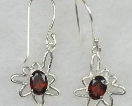 NATURAL UNTREATED GARNET  EARRINGS 925 STERLING SILVER1 JE571