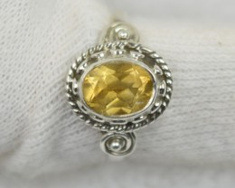 NATURAL UNTREATED CITRINE RING 925 STERLING SILVER JE572