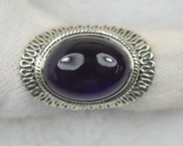 NATURAL UNTREATED AMETHYST RING 925 STERLING SILVER JE576