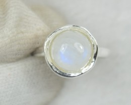 NATURAL UNTREATED RIAINBOW MOONSTONE  RING 925 STERLING SILVER JE578