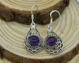NATURAL UNTREATED AMETHYST EARRINGS 925 STERLING SILVER JE579