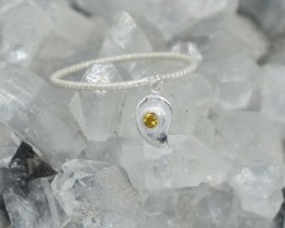 NATURAL UNTREATED CITRINE RING 925 STERLING SILVER JE580