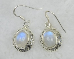 NATURAL UNTREATED RAINBOW MOONSTONE  EARRINGS 925 STERLING SILVER JE581