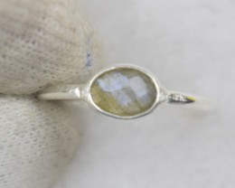 NATURAL UNTREATED LABRADORITE  RING 925 STERLING SILVER JE582