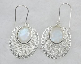 NATURAL UNTREATED RAINBOW MOONSTONE EARRINGS 925 STERLING SILVER JE583