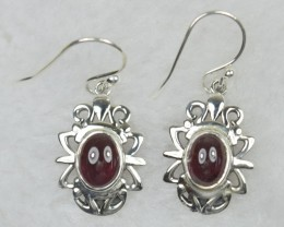 NATURAL UNTREATED GARNET  EARRINGS 925 STERLING SILVER JE
