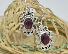 NATURAL UNTREATED GARNET  EARRINGS 925 STERLING SILVER JE587
