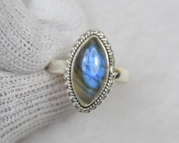 NATURAL UNTREATED LABRADORITE  RING 925 STERLING SILVER JE646