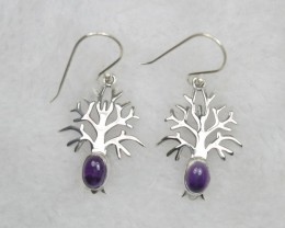 NATURAL UNTREATED AMETHYST EARRINGS 925 STERLING SILVER JE647