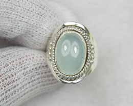 NATURAL UNTREATED CHALCEDONY  RING 925 STERLING SILVER JE648