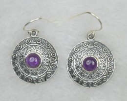 NATURAL UNTREATED AMETHYST EARRINGS 925 STERLING SILVER JE651