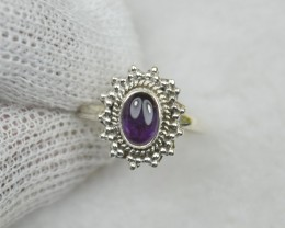 NATURAL UNTREATED AMETHYST RING 925 STERLING SILVER JE652
