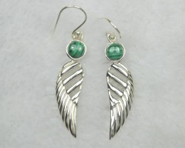 NATURAL UNTREATED MALACHITE  EARRINGS 925 STERLING SILVER JE653