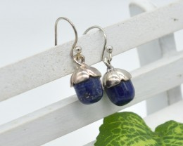NATURAL UNTREATED LAPIS EARRINGS 925 STERLING SILVER JE655