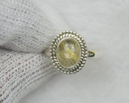 NATURAL UNTREATED RUTILATED RING 925 STERLING SILVER JE658