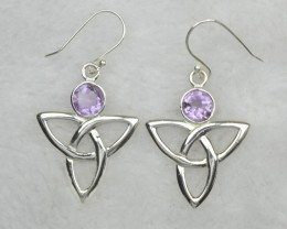 NATURAL UNTREATED AMETHYST  EARRINGS 925 STERLING SILVER JE659