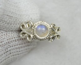 NATURAL UNTREATED RAIN BOW MOONSTONE RING 925 STERLING SILVER JE660