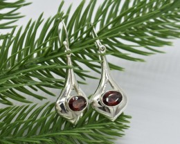NATURAL UNTREATED GARNET  EARRINGS 925 STERLING SILVER JE661