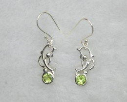 NATURAL UNTREATED PERIDOT EARRINGS 925 STERLING SILVER JE663