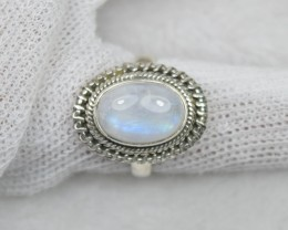NATURAL UNTREATED RAINBOW MOONSTONE  RING 925 STERLING SILVER JE664