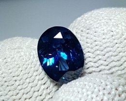 UNHEATED 1.55 CTS CERTIFIED VIVID BLUE SAPPHIRE FROM MADAGASCAR