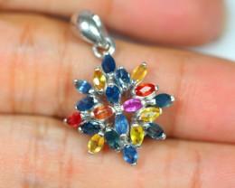 20.37Ct Sterling Silver 925 Natural Fancy Color Sapphire Pendant Z378