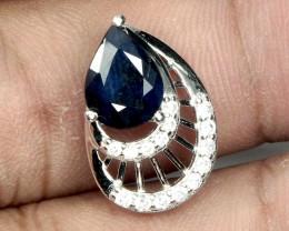 10ct Deep Blue Sapphire 925 Sterling Silver Pendant
