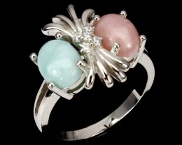 10.95ct Laminar and Pink Opal 925 Sterling Silver Ring US 6