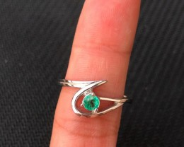 11.5ct Green Emerald 925 Sterling Silver Ring US 8