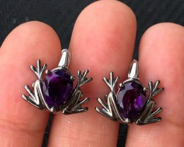 22ct Purple Amethyst 925 Sterling Silver Earrings