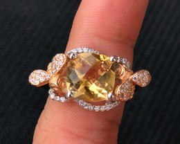 25ct Yellow Citrine 925 Sterling Silver Ring US 7