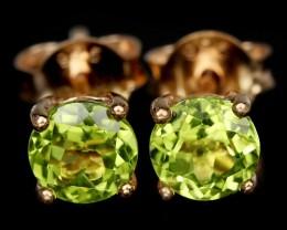 4ct Green Peridot 925 Sterling Silver Earrings
