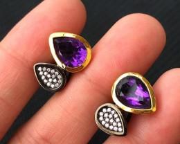 33ct Purple Amethyst 925 Sterling Silver Earrings