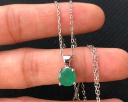 13ct Green Emerald 925 Sterling Silver Necklace