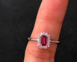 11.5ct Pink Topaz 925 Sterling Silver Ring US 7.25
