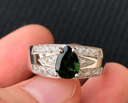 26.5ct Green Chrome Diopside 925 Sterling Silver Ring US 9.5