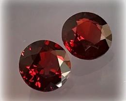 Mozambique Garnets - A Pair of 6.5mm Gems VVS No Reserve