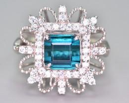 32.80 Ct Amazing Design ~ Indicolite Tourmaline Silver Ring