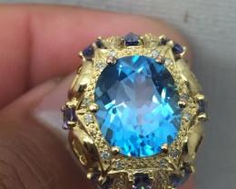 (B5) $895 Gorgeous Nat. 6.874cts Designer Genuine Blue Topaz & Iolite R