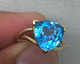 (B5) Beautiful Nat. 4.0ct Designer Trillion Cut  Blue Topaz Diamond Ring 10