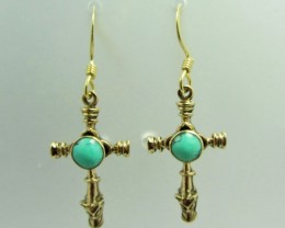 TURQUOISE/HOWITE  BRONZE EARRING SHEPPARD HOOK QT 685