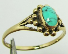TURQUOISE/HOWLITE  BRONZE RING SIZE 9.5 QT 706