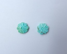 4.5ct Green Turquoise Carved Flower-Shaped Cabochon Pair (18081302)