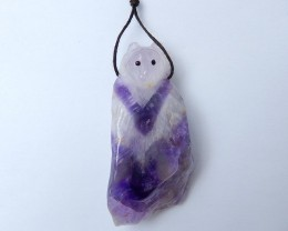 195ct Amethyst Carved Wolf Pendant (18081307)