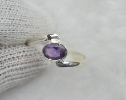 NATURAL UNTREATED AMETHYST  RING 925 STERLING SILVER JE666