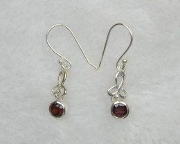 NATURAL UNTREATED GARNET  EARRINGS 925 STERLING SILVER JE668