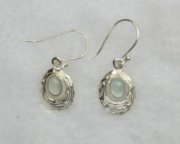 NATURAL UNTREATED CHALCEDONY  EARRINGS 925 STERLING SILVER JE669