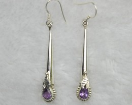 NATURAL UNTREATED AMETHYST EARRINGS 925 STERLING SILVER JE670