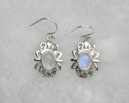 NATURAL UNTREATED RAINBOW MOONSTONE  EARRINGS 925 STERLING SILVER JE671